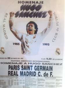 Cartel homenaje a Hugo Sanchez del Real Madrid